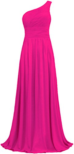 ANTS Women's Pleat Chiffon One Shoulder Bridesmaid Dresses Long Evening Gown Size 18W US Hot Pink