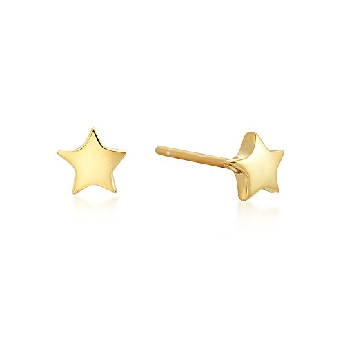 Over Gold Stud Silver (Star Stud Earrings - 14k Gold over Sterling Silver - Dainty, Minimalist Jewelry)