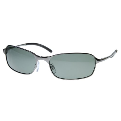 zeroUV - Polarized Thin Wire Frame Metal Sunglasses (Silver)