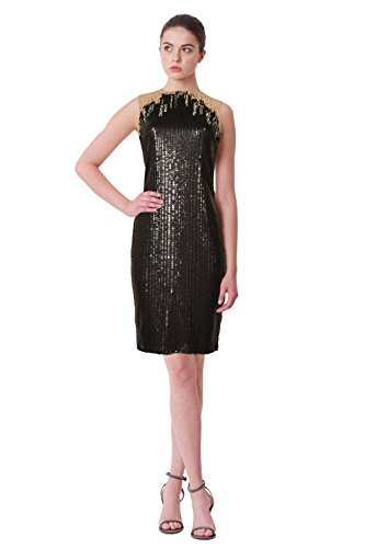 Tadashi Shoji Illusion Sequin Embroidered Tulle Sleeveless Sheath Dress