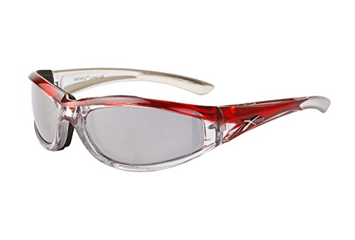 (Rocking Red & Silver-tone Padded Motorcycle Sunglasses. Mirror Lenses. Women )