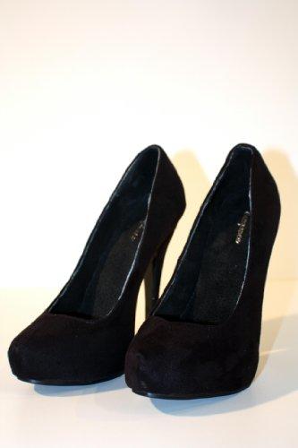 Erogance Velour Plateau High Heels - Plataforma mujer negro - negro