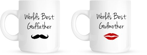 worlds best godmother godfather godparents christening christmas gift mug set amazoncouk kitchen home