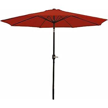 Sunnydaze Burnt Orange Aluminum 9 Foot Patio Umbrella With Tilt U0026 Crank