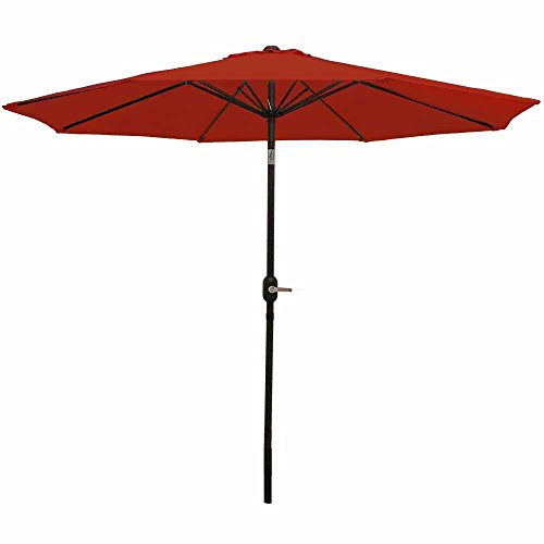Sunnydaze 9 Foot Outdoor Patio Umbrella with Tilt & Crank, Aluminum, Burnt Orange