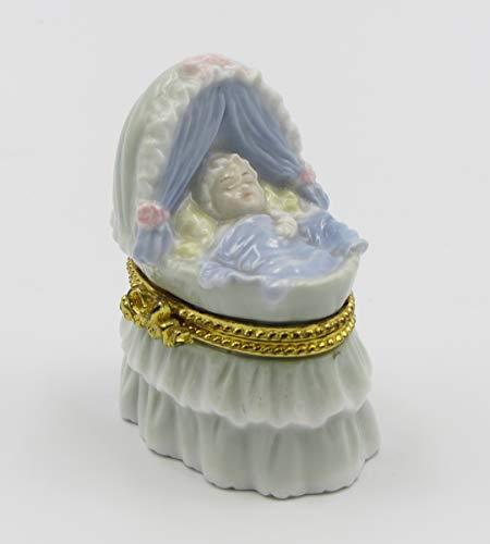 Cosmos Gifts Fine Porcelain Baby Boy Sleep in Cradle Design Hinged Limoge Box, 1-1/2