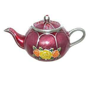 Round Red Teapot Jewelry Trinket Box Crystallized Bejeweled Swarovski Crystals Hinged Collectible