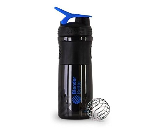 BlenderBottle SportMixer Protein Shaker Cup 28 oz Blender Bottle Sport Mixer Health & Fitness (Black/Blue)