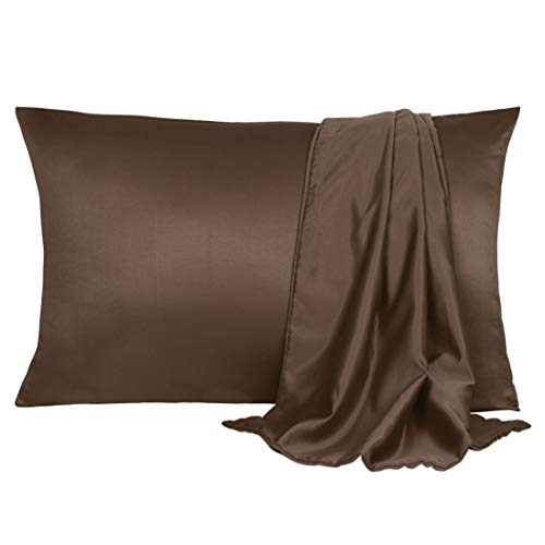 uxcell 2 Pack Silk Satin Pillowcase for Hair and Skin, Cool, Silky, Soft Breathable Pillow Cases Travel Size 14x20 Inch Brown with Envelope Closure