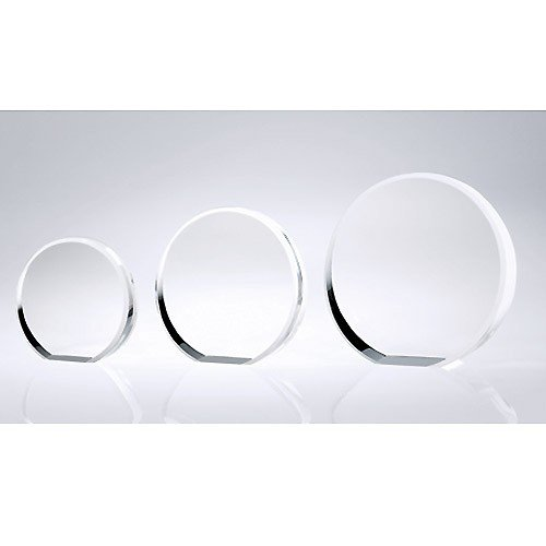 Circle Beveled Optical Crystal Award - Medium