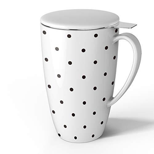 Sweese 2150 Porcelain Tea Mug with Infuser and Lid, 15 OZ ()