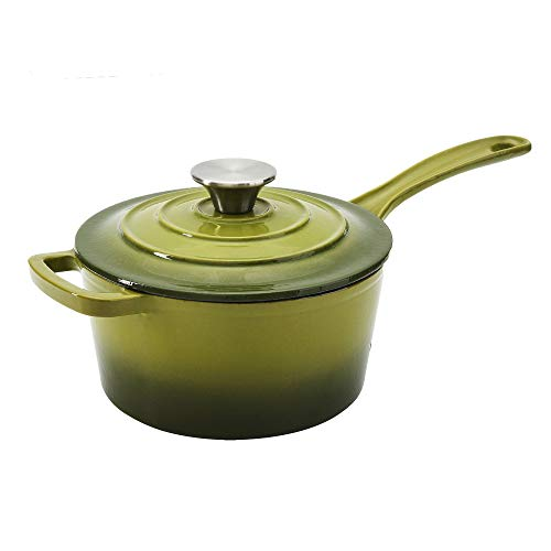 (Hamilton Beach 2 Quart Enameled Coated Cast Iron Round Sauce Pan with Lid, Green)
