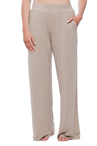 (New York & Company Women's Knit Lounge Pant with pockets Taupe XL)
