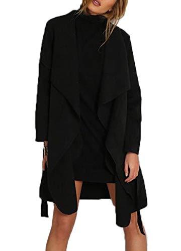 Simple-Fashion Automne Hiver Femmes Manteau de Laine Jeune Mode Pardessus Coat Tops Outwear Blousons Pulls Casual Manches Longues Cardigan Veste Hauts avec Bandage Noir