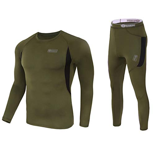 (Convallaria Men's Thermal Underwear Sets Ultra Soft Wicking Crew Neck Long Johns Fleece Lined Sweat Bottom and Top Quick Drying for Outdoor Camping Sports Warm Underwear Army Green, XL)