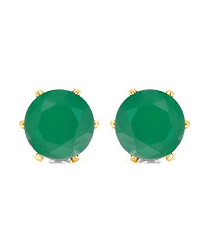 Efulgenz Jewelry 14K Gold Plated Hypoallergenic Green Round Cubic Zirconia 6 MM Stud Earrings Set for Pierced Ears