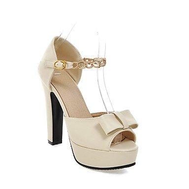 LFNLYX Sandalias mujer Primavera Verano Otoño otro club zapatos casual polipiel Chunky talón Bowknot cadena hebilla beige rosa Beige