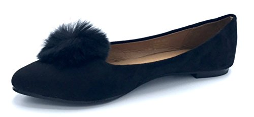 Vesto Ladies Microsuede Flat with Pom Pom 7-8 B(M) US Black