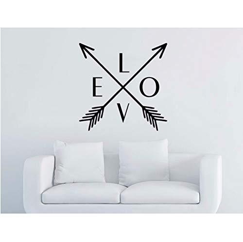 LSFHB Arrow Wall Decal Love Vinyl Sticker Art Home Decor Mural Arrows Feather Indie Boho Fashion Bohemian Bedroom Decoration DIY 42X42Cm ()