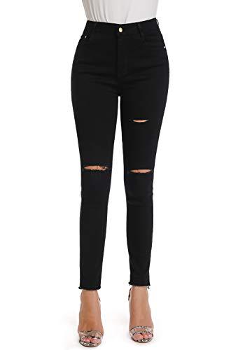 (Mia Pristine Denim Women's Juniors Distressed Slim Fit Stretchy Skinny Jeans,Black 2)