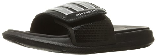 adidas Men's Superstar 4G Athletic Slide Sandals, Metallic Silver/Black, ((12 M US)