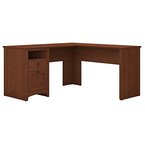 Bush Furniture Buena Vista 60W L Shaped Desk with Drawers in Serene - Equipment Open Base Table Filler