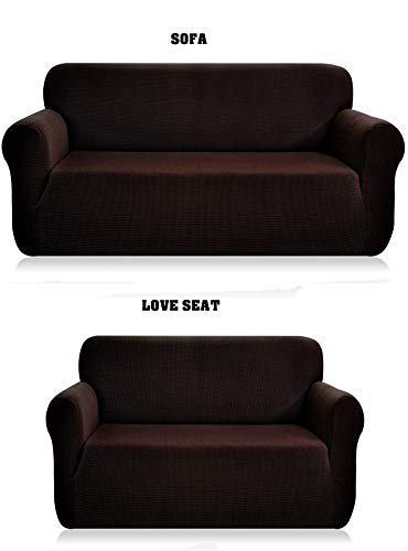 Fancy Collection Sure Fit Stretch Fabric Sofa Slipcover 2 Pc Sofa and Love Seat Covers Solid Brown/Coffee New -