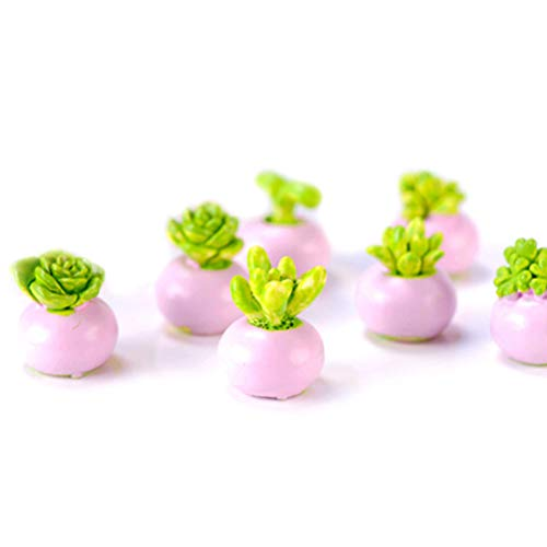 Brosco 2PCS Miniature Green Plant in Pot for Dollhouse Decoration Home Decor Rk ()