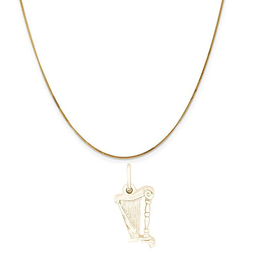 Rembrandt Charms 14K Yellow Gold Harp Charm on a 14K Yellow Gold Curb Chain Necklace, 18