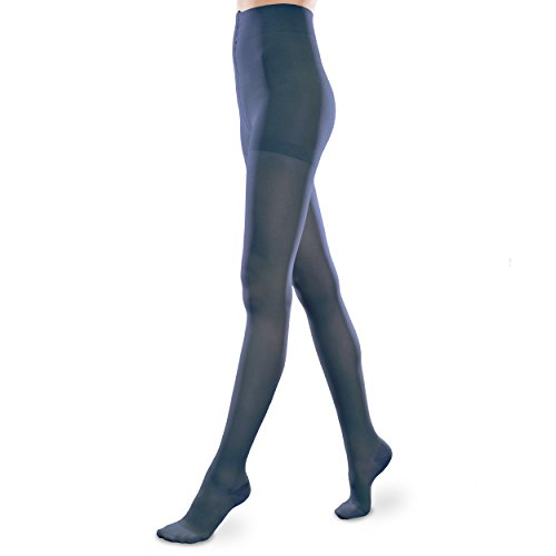 Sheer Ease Women's Support Pantyhose – 15-20mmHg Mild Compression Stockings (Navy, Medium Long)