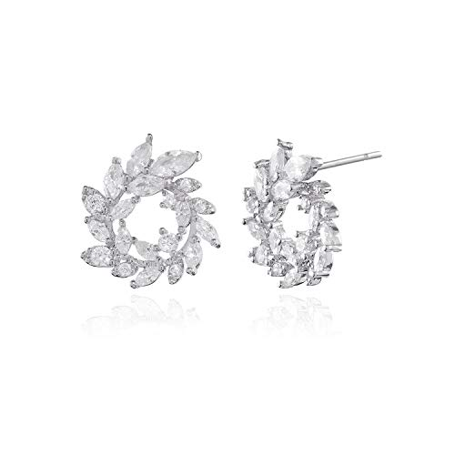 CZ Cluster Earrings for Women - 18k White Gold Plated Small Gorgeous Marquis-Cut Cubic Zirconia Crystal Curved Floral Leaf Bridal Wedding Banquet Stud Earrings for Bride Bridesmaids Mother of Bride ()