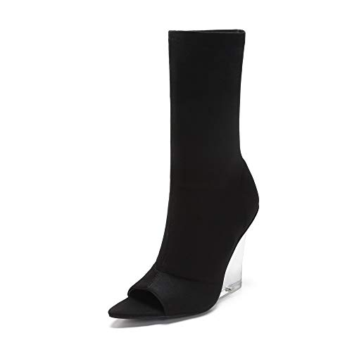 MACKIN J 408-1 Women Faux Suede Peep Toe Lucite Wedge Heel Bootie(7.5, - Black Wedge Clear