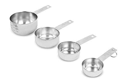 Internet's Best Set of 4 Stainless Steel Measuring Cups | Stackable Kitchen Utensils for Cooking Baking Dry and Liquid Ingredients