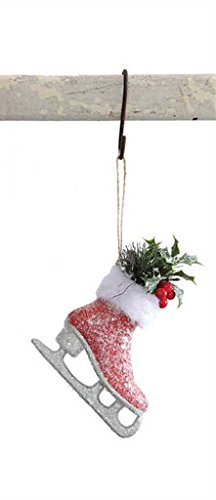 Ice Skate Glitter Red Hanging Christmas Ornament