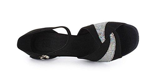 Tda Donna Fibbia Glitter Classico Tacco Alto Scarpe Da Ballo Latino Nero / Argento