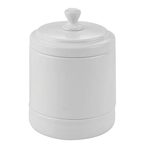 mDesign Metal Bathroom Vanity Storage Organizer Canister Jar for Cotton Balls, Swabs, Makeup Sponges, Bath Salts, Hair Ties, Jewelry - Matte White (Jar White Ceramic)