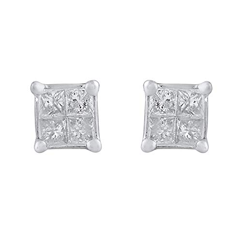 10k White Gold Princess Diamond Square Cluster Stud Earrings (1/10 cttw, HI-Color, I2-I3 Clarity)