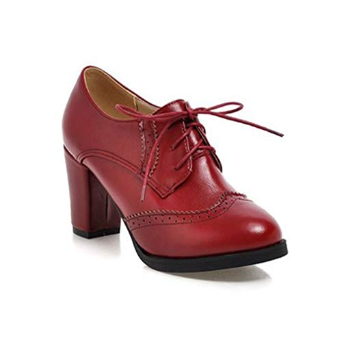 Gloss Shoe Red Womens (GIY Women's Lace Up Platform Oxford Pump Wingtip Perforated Chunky High Heel Vintage Dress Oxfords Shoes Red)