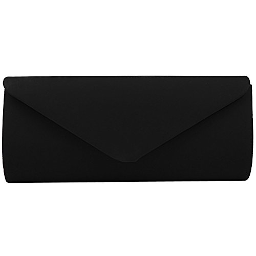 Black Satin Clutch (FASHIONROAD Evening Clutch, Vintage Velvet Envelope Clutch Purses For Women, Retro Handbags For Wedding And Party Black)