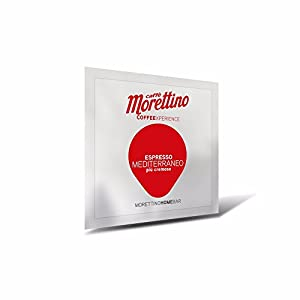 Caffè Morettino Cialde Espresso Mediterraneo Cremoso Tostatura Scura - Confezione da 150 Cialde Universali