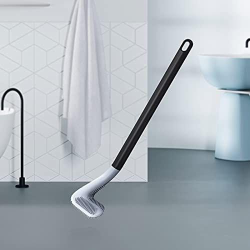 Toilet brush,silicone toilet brushes,toilet brush with holder,Cue design with long handle + TPR soft brush, saving space, all-round cleaning, suitable for bathroom toilet… (Black)