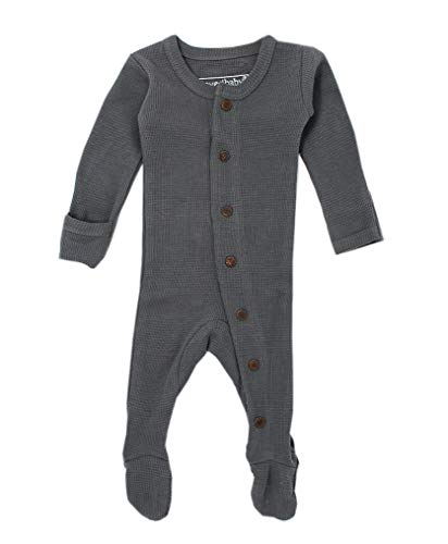 L'ovedbaby Unisex-Baby Organic Cotton Footed Overall (0-3 Months, Thermal Graphite) Dye Long Sleeve Thermal