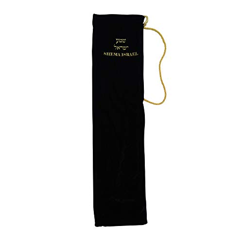 """Shema Israel Stretch Velvet Yemenite Shofar Accessory/Carrying/Gift Bag, Specialty Hebrew Embroidered Jumbo (Holds up to 36"""" horn) (Midnight Black)"""