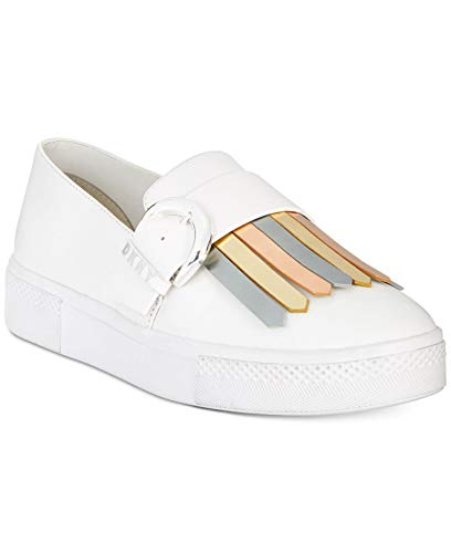 DKNY Womens Jules Leather Low Top Slip On Fashion Sneakers, White/Gold, Size -