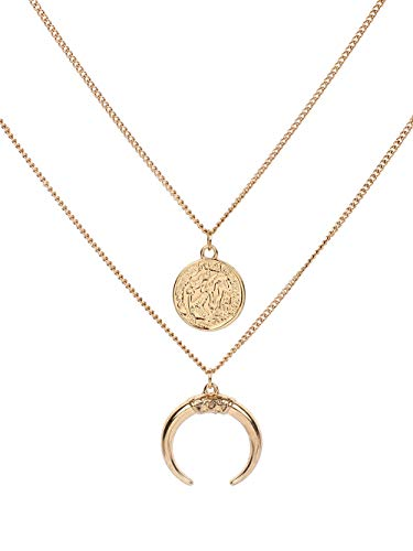 JczR.Y Double-Layer Moon Crescent Coin Necklace Pendant for Women Simple Round Circle Disc Horn Necklace Choker Fashion Head Portrait Medal Neck Jewelry