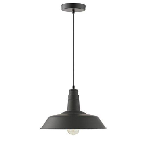 Light Society Kress Pendant Light, Matte Black Shade with White Interior, Vintage Modern Industrial Farmhouse Lighting Fixture (LS-C199-BLK) by Light Society (Image #1)