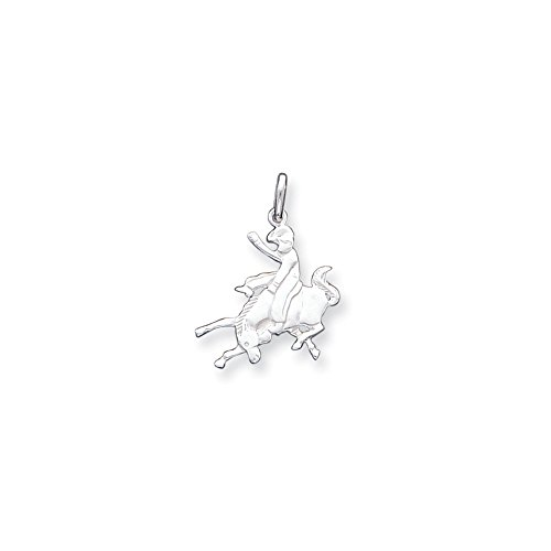 - Sterling Silver Solid Polished Flat back Not engraveable Bronco Rider Charm