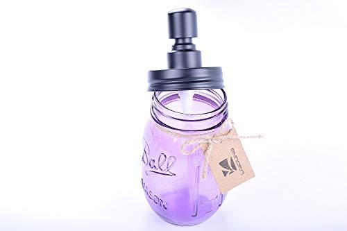 Liyoung Mason Jar Soap Dispenser,Glass Jar Lotion Dispenser,Made of Rust Proof 304 Stainless Steel (Purple, 1)
