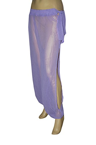 Genie Costume Lilac Sheer Chiffon Harem/Yoga Pants with Side Slit Halloween