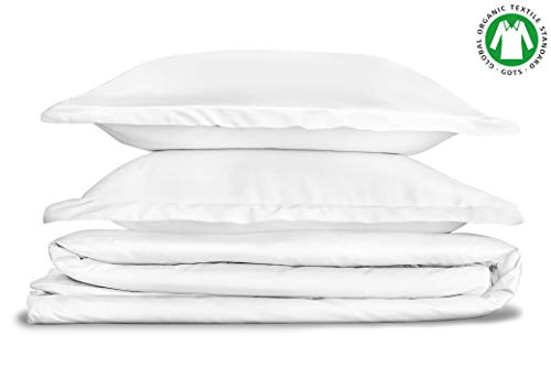 BIOWEAVES 100% Organic Cotton 3 Piece Duvet Cover Set, 300 Thread Count Sateen Weave GOTS Certified Comforter Cover with Buttoned Closure and 2 Pillow Shams - White, Full/Queen, 90x90 inches